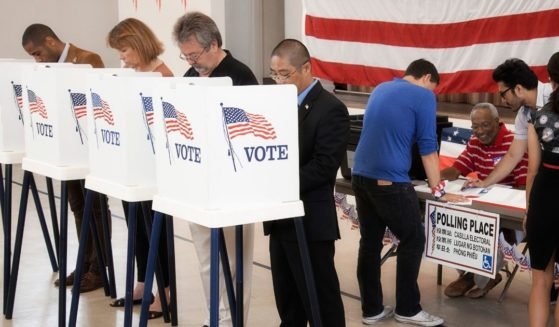 People are pictured voting in the stock image above.