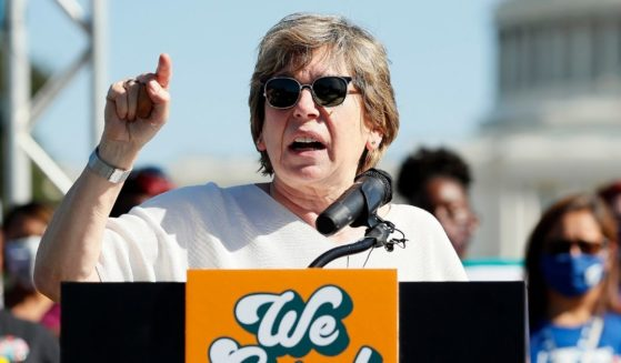 Randi Weingarten, president of the American Federation of Teachers, hold a news conference in front of the U.S. Capitol on Thursday in Washington, D.C.