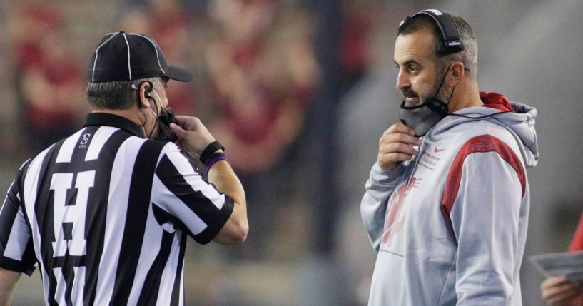 Then-Washington State head football coach Nick Rolovich, speaks with an official during a Sept. 4 game against Utah State in Pullman.