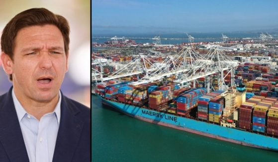 Florida Gov. Ron DeSantis, left, speaks to the media on July 3 in Surfside, Florida. A container ship sits at the Port of Oakland on Sept. 9 in Oakland, California.