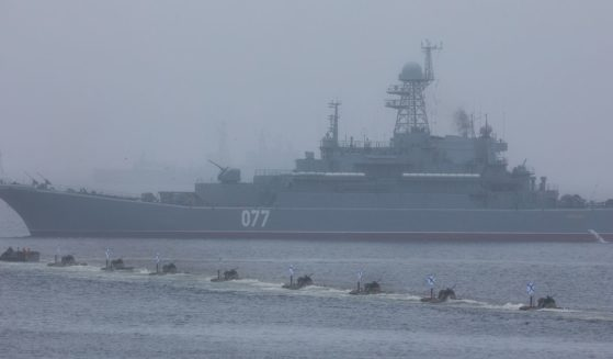 Russian naval vessels participate in the Navy Day celebration off the coast of Vladivostok on July 28, 2019.