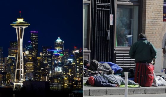 At left, the Space Needle is seen in a photo of the Seattle skyline. At right, people gather on the sidewalk in front of the Union Gospel Mission in downtown Seattle on March 20, 2020.