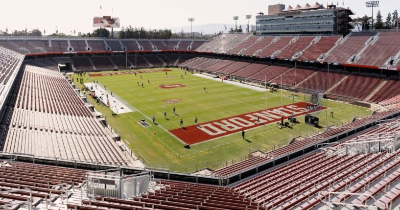 Stanford Stadium is seen before an NCAA Pac-12 college football game between the Stanford Cardinal and the Oregon Ducks on Saturday at Stanford Stadium in Palo Alto, California.