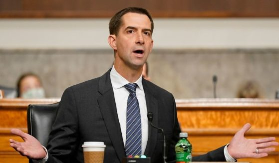 Republican Sen. Tom Cotton of Arkansas speaks during a Senate Armed Services Committee hearing on Capitol Hill on Sept. 28 in Washington, D.C.