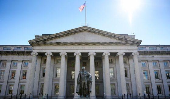 The Treasury Building in seen in Washington, D.C. in 2018.