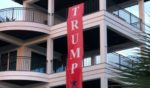 """A massive """"Trump won"""" banner hangs over the home of Martin Peavy in Seagrove, Florida."""