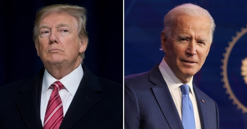 A recent poll conducted by Morning Consult and Politico found that approximately 35 percent of American voters feel the 2020 election, which saw former President Donald Trump, left, lose the office to President Joe Biden, should be overturned.