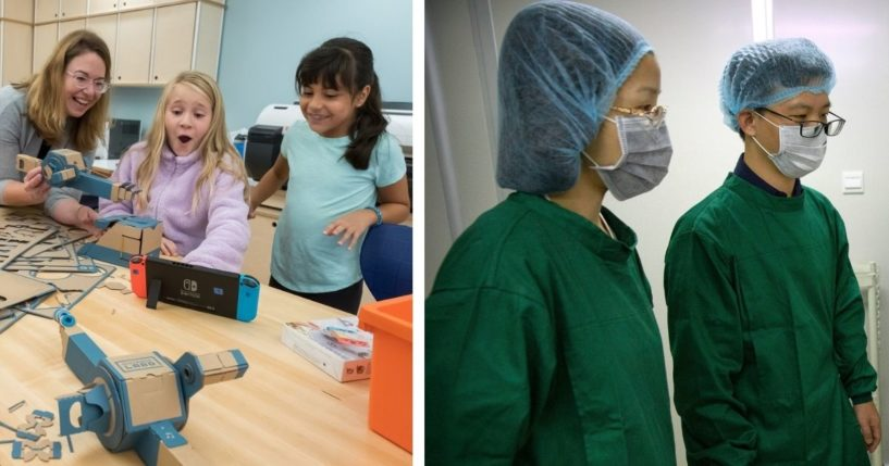 Third grade students in Chappaqua, New York, work on a project with the Nintendo Labo: Variety Kit. Two Chinese scientist, embryologists, work in the lab with their work on gene-edited babies.