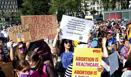 Crowds gather in New York's Foley Square for a pro-abortion rally on Saturday.