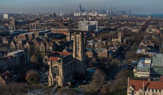 A stock photo shows the Rockefeller Chapel stands on the University of Chicago campus in Chicago.