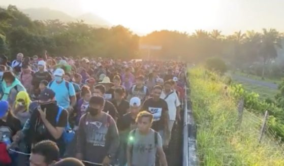 A migrant caravan travels across Mexico on its way to the southern border of the U.S. on Oct. 27.