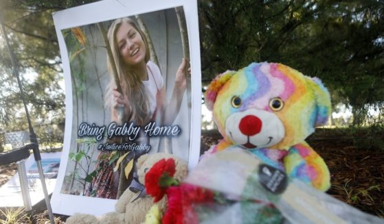 A makeshift memorial dedicated to Gabby Petito is seen near City Hall on Sept. 20 in North Port, Florida.
