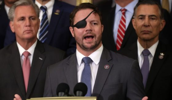 Rep. Dan Crenshaw speaks during a news conference at Rayburn Room of the U.S. Capitol Aug. 31, in Washington, D.C.