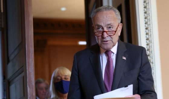 Senate Majority Leader Chuck Schumer, pictured leaving leaving a policy meeting on Capitol Hill last week.
