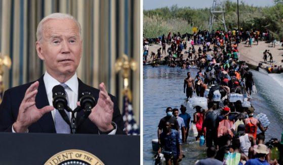 President Joe Biden, left; Haitians crossing the Rio Grande, right.