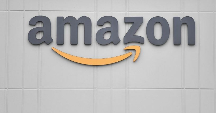 The Amazon logo is seen at a Staten Island distribution center on March 30, 2020, in New York.