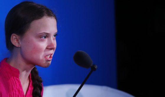 Greta Thunberg speaks at the United Nations in New York City on Sept. 23, 2019.