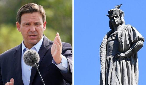 Florida Gov. Ron DeSantis, left; right, the statue of Christopher Columbus in New York City's Columbus Circle.