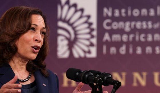 Vice President Kamala Harris delivers remarks at the National Congress of American Indians' 78th annual convention in the Eisenhower Executive Office Building in Washington, D.C., on Oct. 12, 2021.