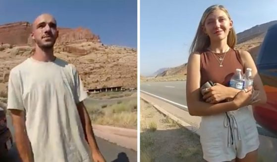Brian Laundrie and Gabby Petito are pictured in images from an Aug. 12 video from the Moab, Utah, police department.