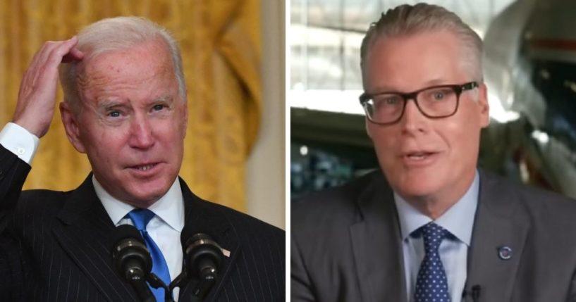 President Joe Biden, left; Delta CEO Ed Bastian, right.