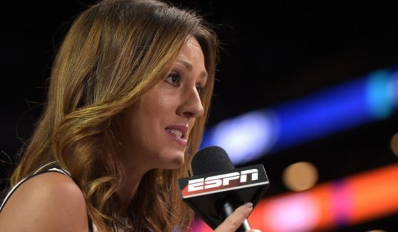 ESPN sideline reporter Allison Williams, pictured from a 2017 college basketball sideline report.