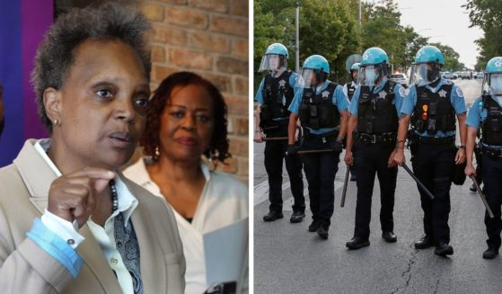 Chicago Mayor Lori Lightfoot, left; Chicago police officers, right.