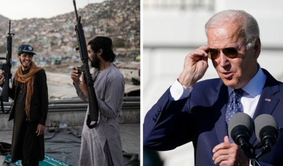 Left: Taliban fighters pictured in Kabul, Afghanistan, on Tuesday. Right: President Joe Biden dons sunglasses outside the White House on Monday.