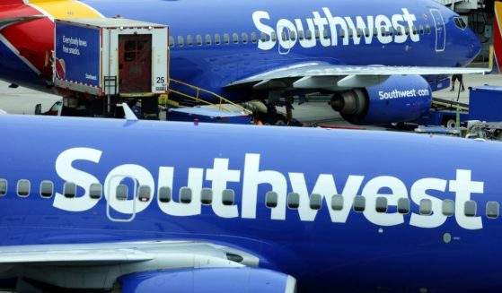 Southwest airplanes sit at a gate at Baltimore Washington International Thurgood Marshall Airport in Baltimore, on Oct. 11.