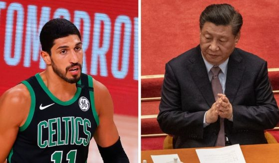 Boston Celtics backup center Enes Kanter, left; and Chines President Xi Jinping, right.
