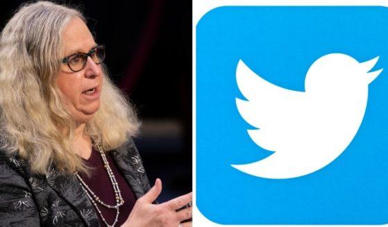 Dr. Rachel Levine, left; Twitter's logo, right.