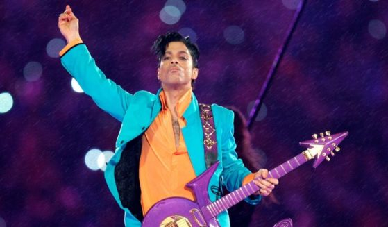 Prince performs during the halftime show at the Super Bowl XLI football game in Miami on Feb. 4, 2007.