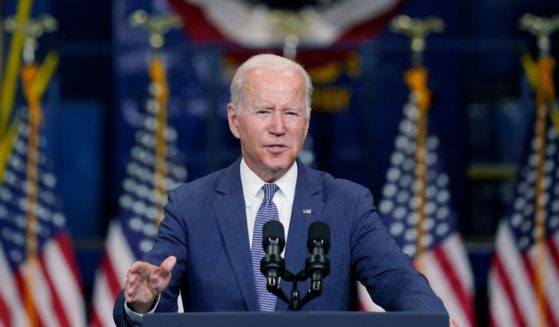 President Joe Biden speaking in Kearny, New Jersey, on Monday.