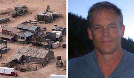 "Movie set of ""Rust,"" left; assistant director David Halls, right."