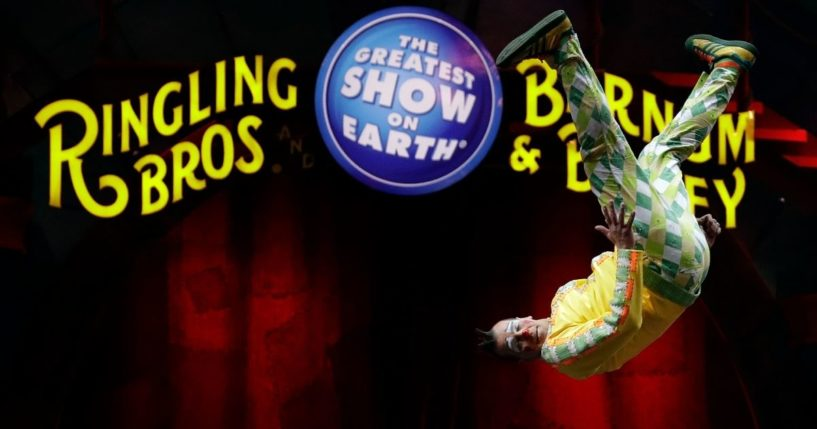 A Ringling Bros. and Barnum Bailey clown does a somersault during a performance in Orlando, Florida, on Jan. 14, 2017.