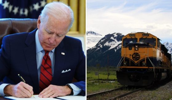 President Joe Biden signing an executive order, left; an Alaska Railroad train, right.