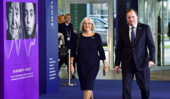 Swedish Prime Minister Stefan Lofven and his wife Ulla arrive at the Malmoe International Forum on Holocaust Remembrance and Combating Antisemitism in Malmoe, Sweden, on Oct. 13.