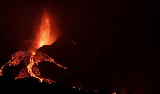 Lava flows from the Cumbre Vieja Volcano in La Palma, Spain, on Sunday.