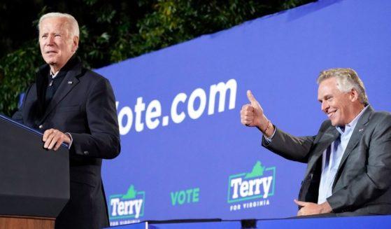 President Joe Biden speaks at a rally for Virginia Democratic gubernatorial candidate Terry McAuliffe on Oct. 26, 2021, in Arlington.