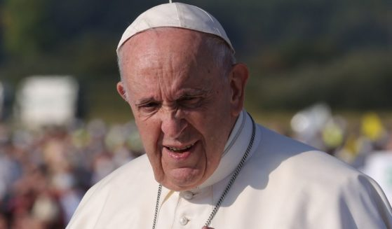 Pope Francis is seen moving through a crowd in Sastin, Slovakia on Sept. 15.