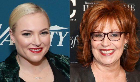 Meghan McCain appears at Variety's third annual 'Salute to Service' celebration in New York on Nov. 6, 2019, while Joy Behar appears at the Broadcasting & Cable Hall of Fame Awards 27th Anniversary Gala in New York on Oct. 16, 2017.