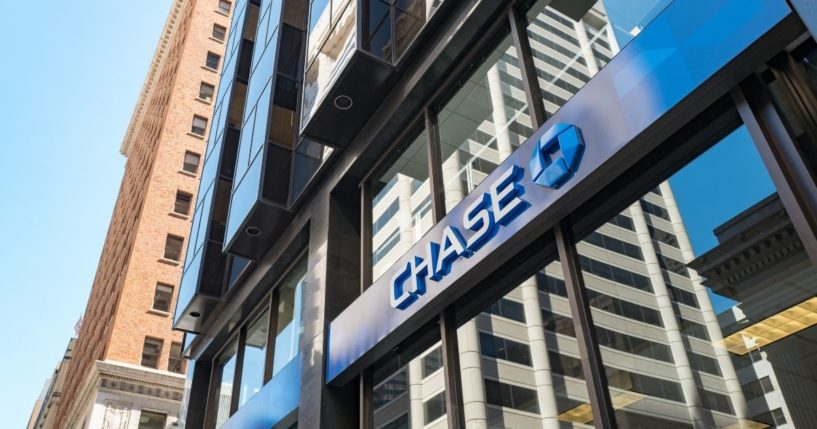 A sign in the Financial District neighborhood of San Francisco bears the Chase Bank logo.