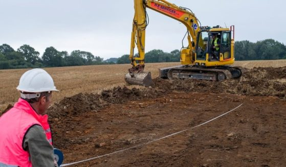 A V2 Nazi rocket that crashed in southeast England in 1945 is being uncovered by archaeologists.