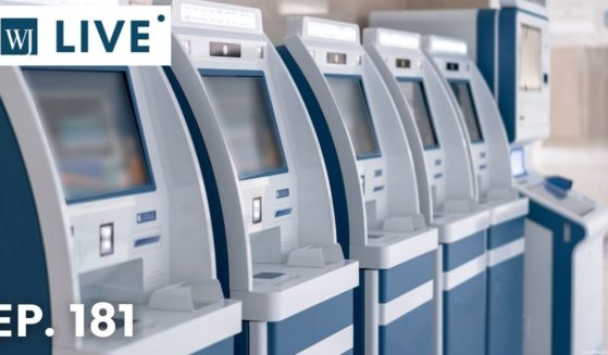 Rows of electronic self-service counters.