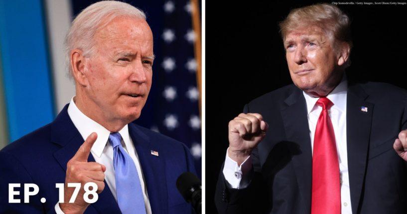 Donald Trump, right, refuses to back down to Joe Biden, left.