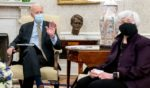 President Joe Biden and Treasury Secretary Janet Yellen meet for an economic meeting in the Oval Office of the White House on April 9.